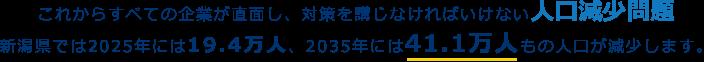 これからすべての企業が直面し、対策を講じなければいけない人口減少問題 新潟県では2025年には19.4万人、2035年には41.1万人もの人口が減少します。